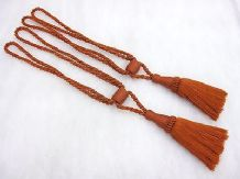 2 Dual tone terracotta red curtain tassel tie backs Traditional rope tiebacks